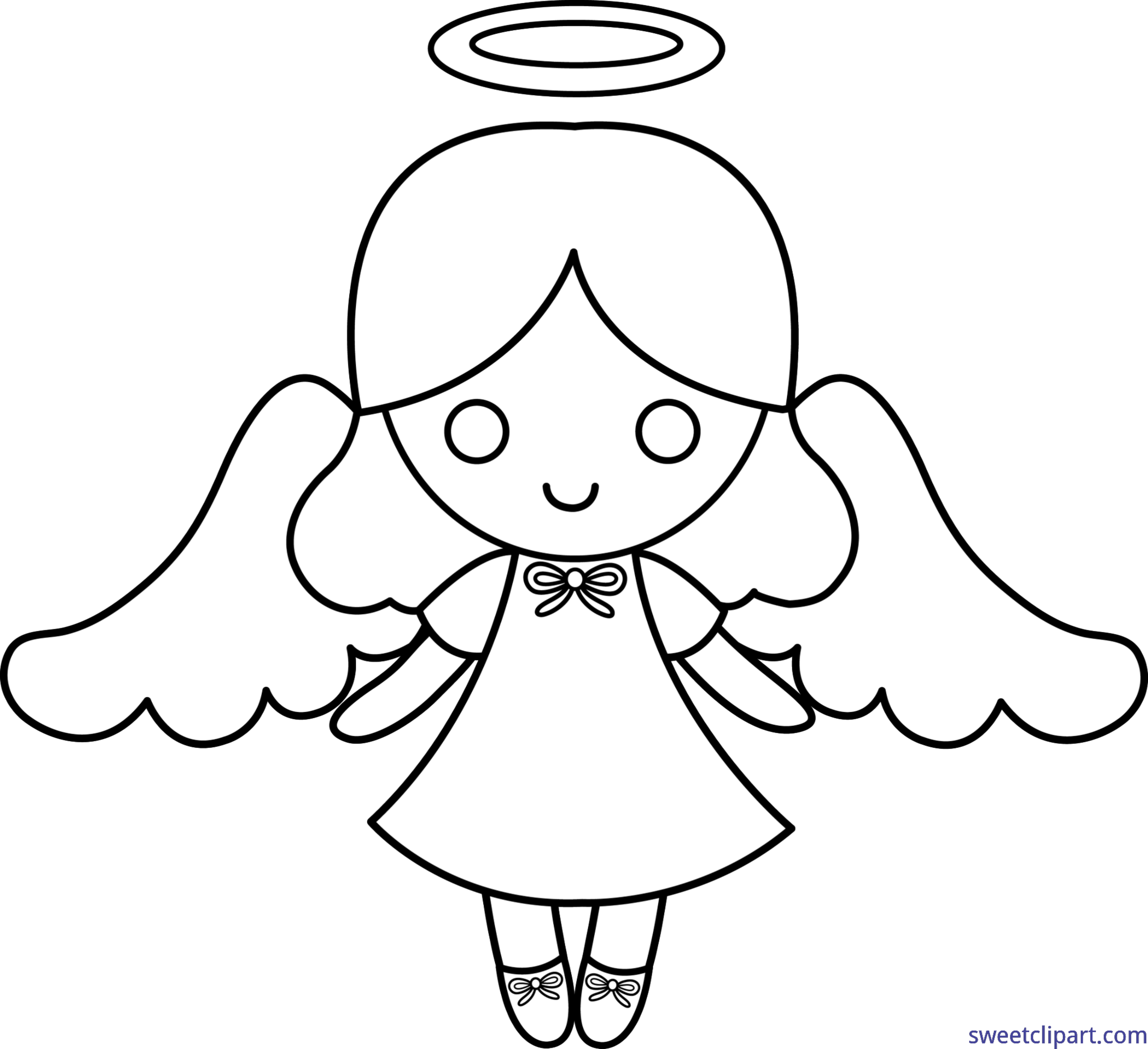 Clipart angel line art. Little lineart clip sweet