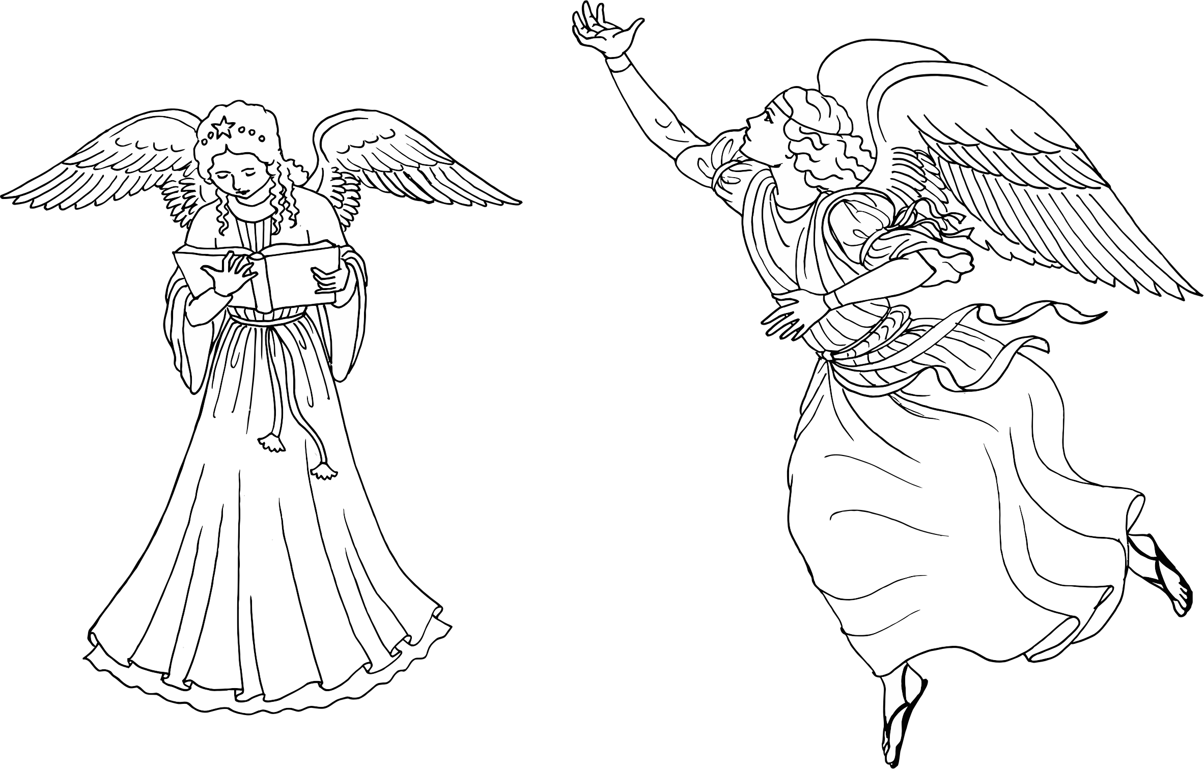 Angels drawing at getdrawings. Clipart angel line art