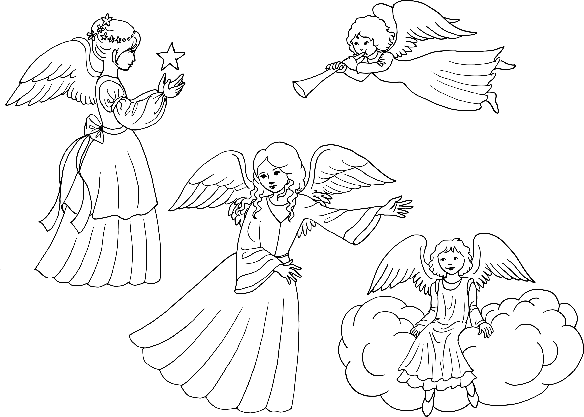Clipart angel line art. Angels drawing at getdrawings