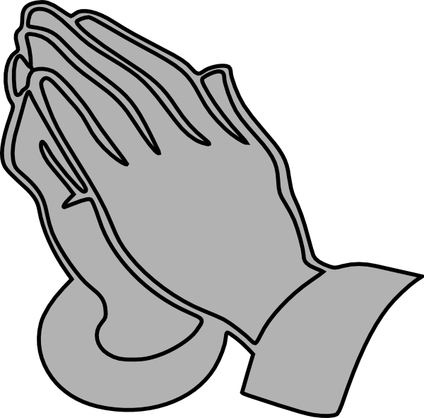 Handprint clipart large hand. Gray praying hands clip