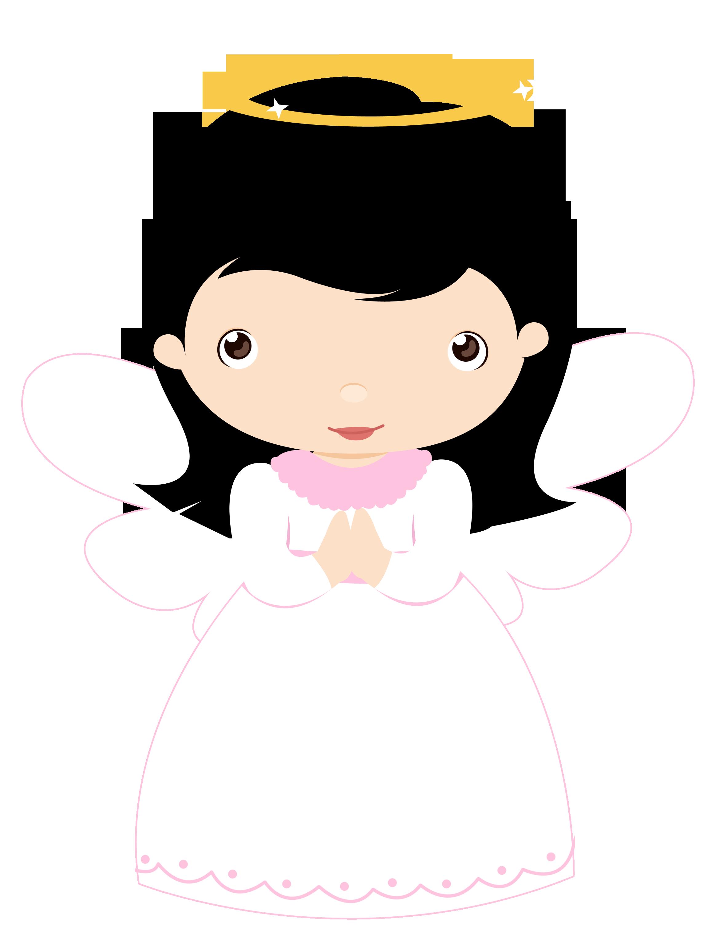 Little angels girls cat. Funeral clipart first communion