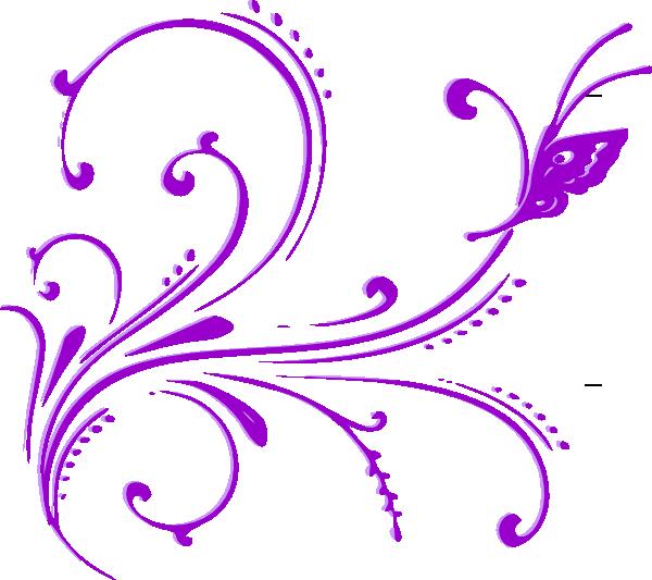 Butterfly scroll clip art. Purple clipart boarder