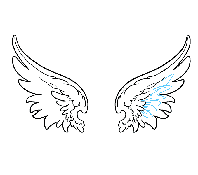 Wing clipart one wing. Angel drawing acur lunamedia