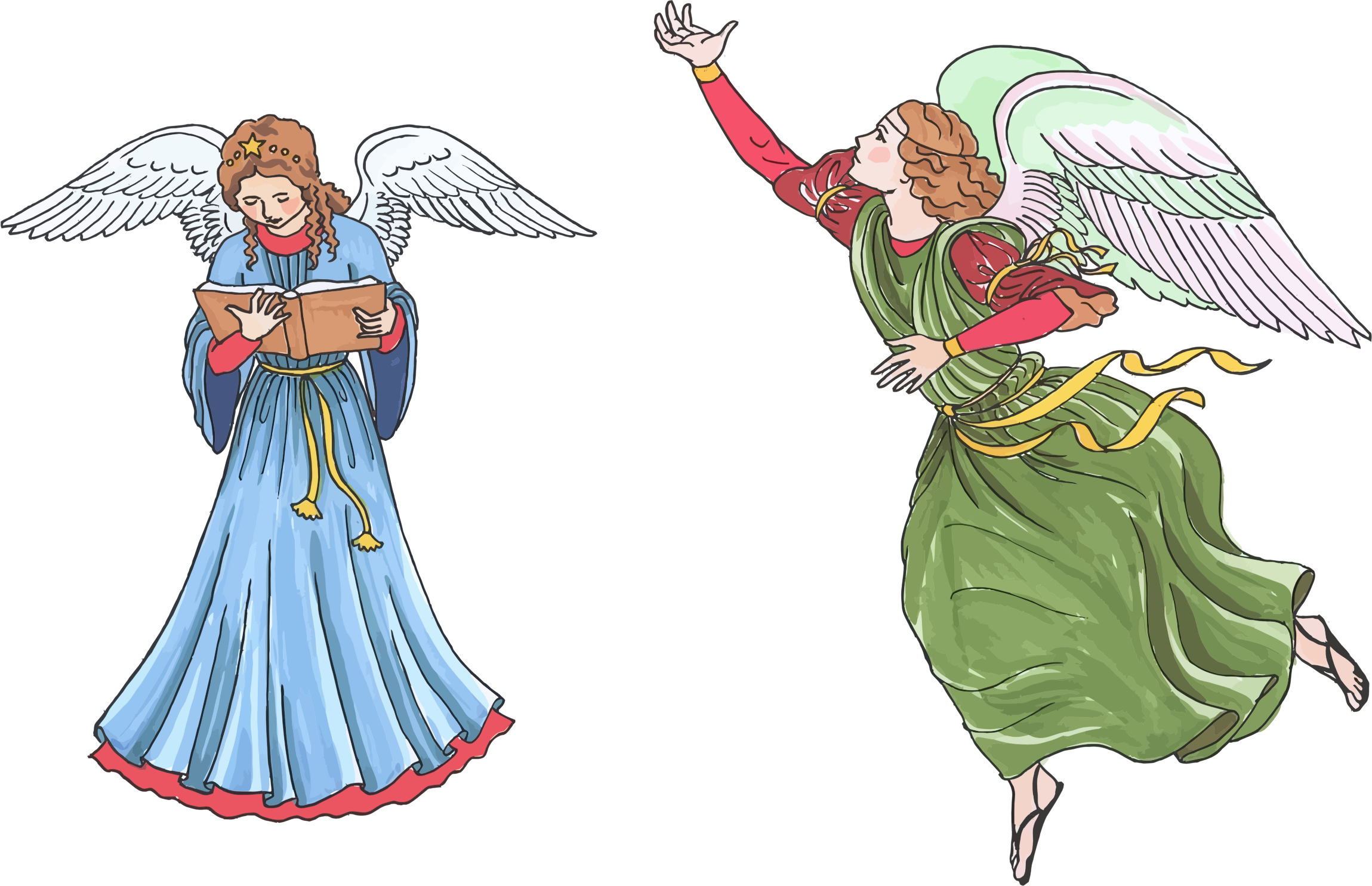 Fly clipart two. Female angels big image
