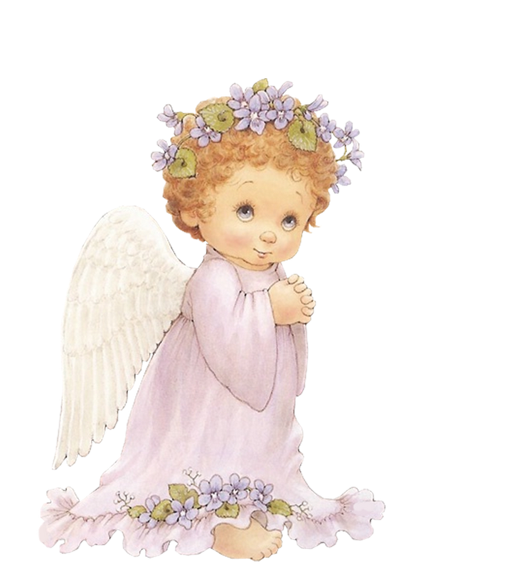 Angel with purple flowers. Clipart bed cute
