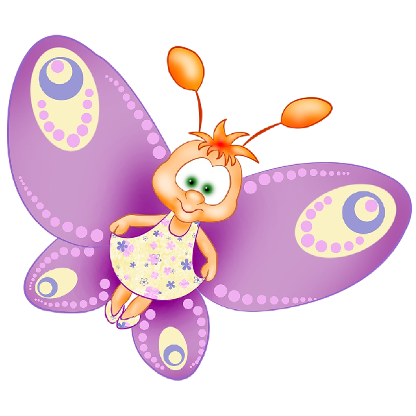 Funny cartoon butterfly images. Insect clipart spring