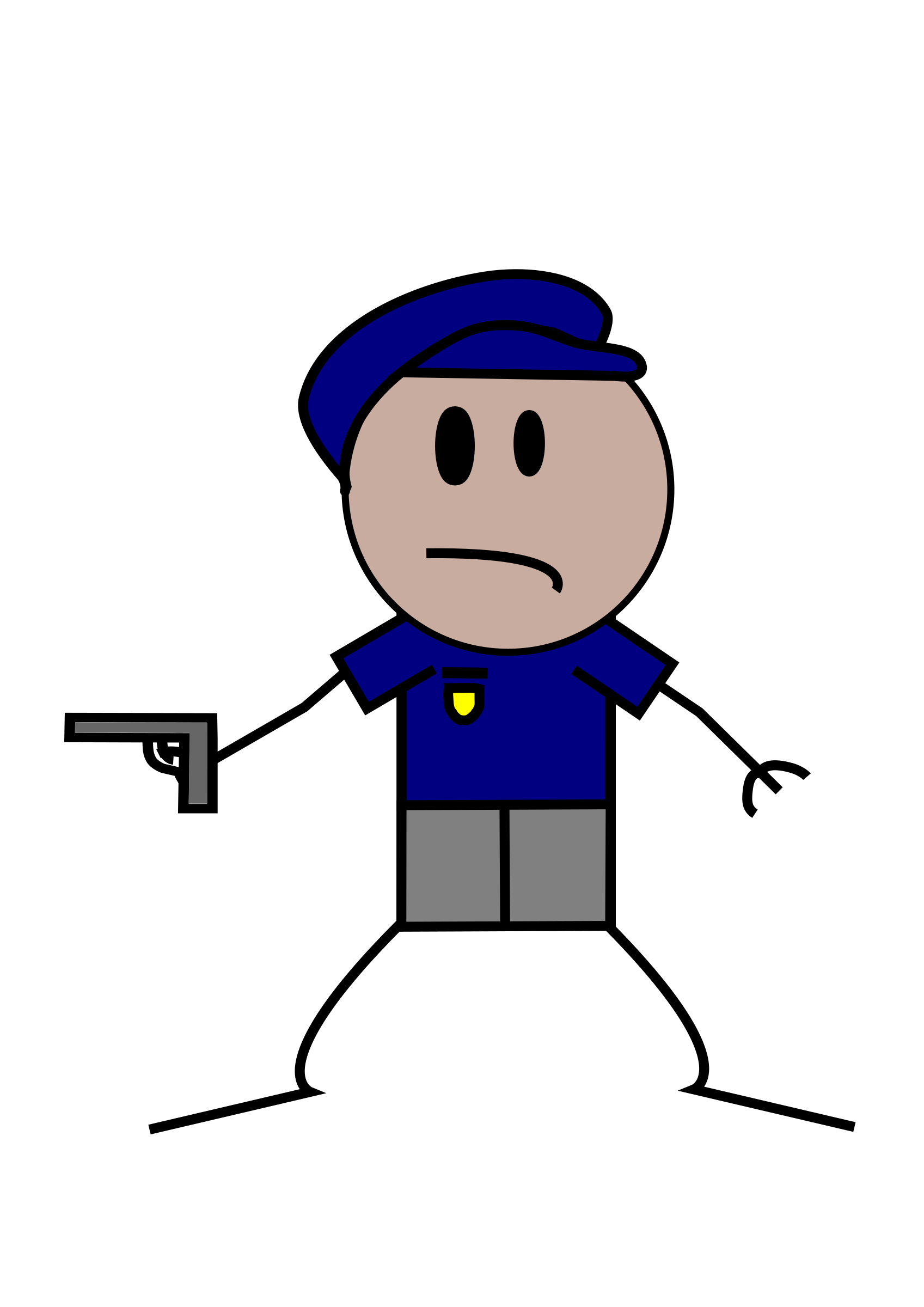 Police stick figure icons. Clipart gun boy
