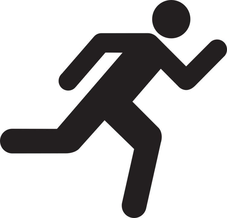 Running stick figure group. People clipart infographic