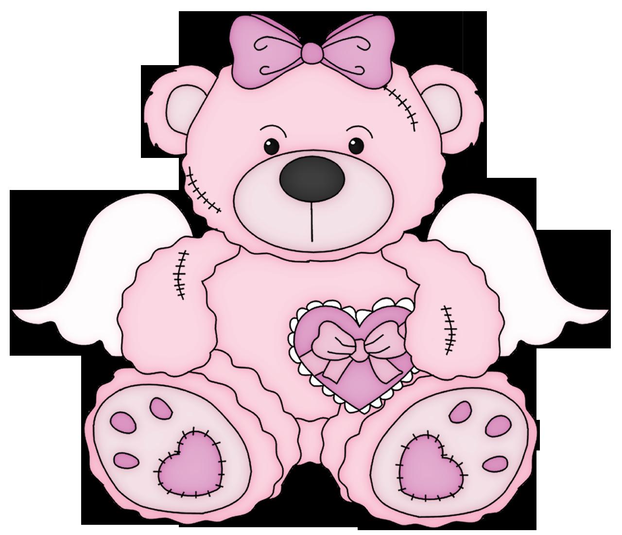 Pink valentine teddy bear. Clipart toys soft toy