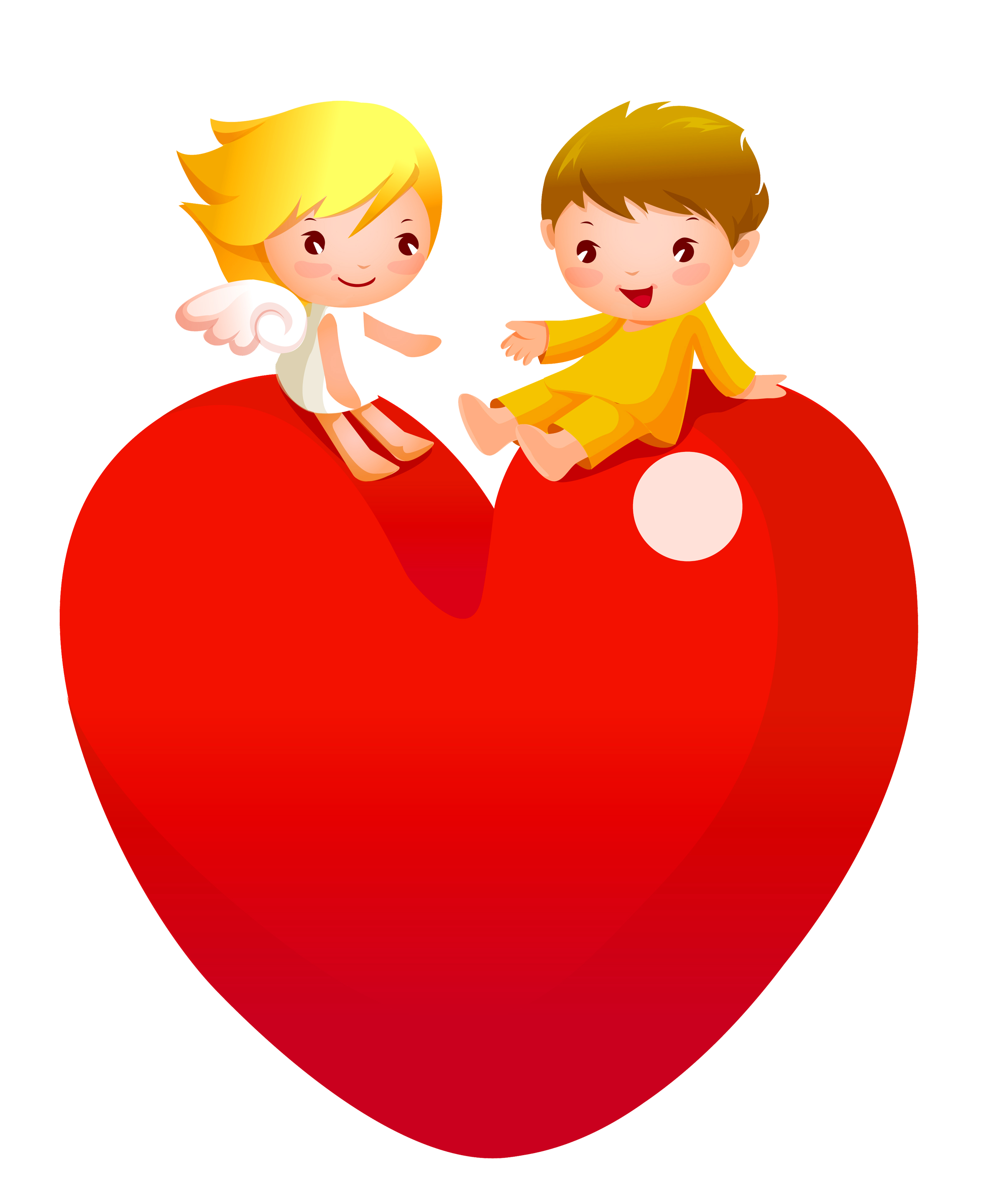Red heart with angels. Hearts clipart man
