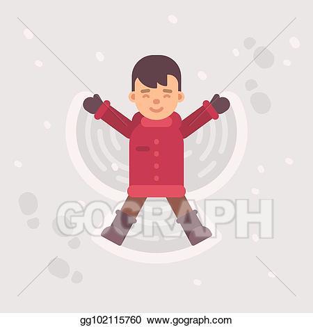 Vector stock little boy. Clipart angel winter