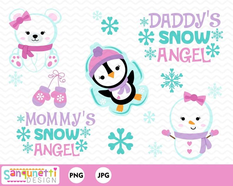 Clipart angel winter. Snow christmas for girls