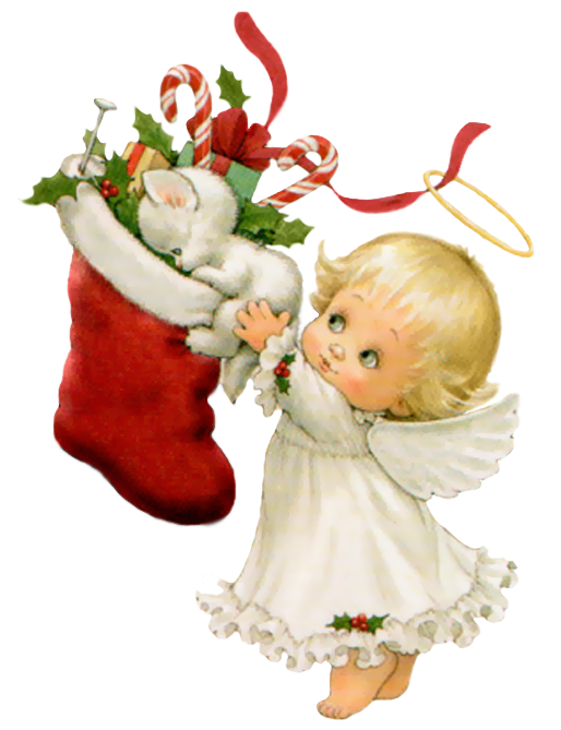Clipart christmas kitten. Cute angel with white
