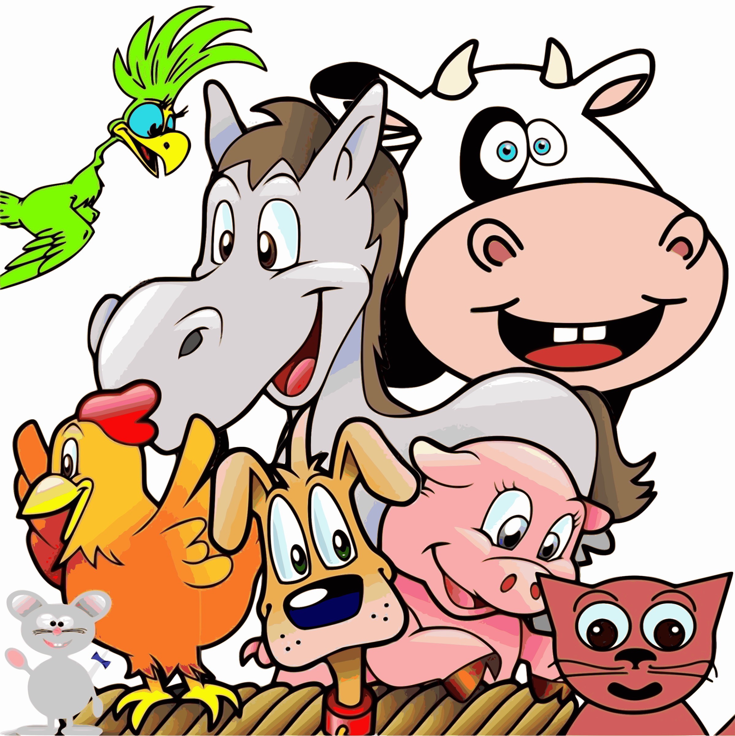 Group of happy big. Clipart animals