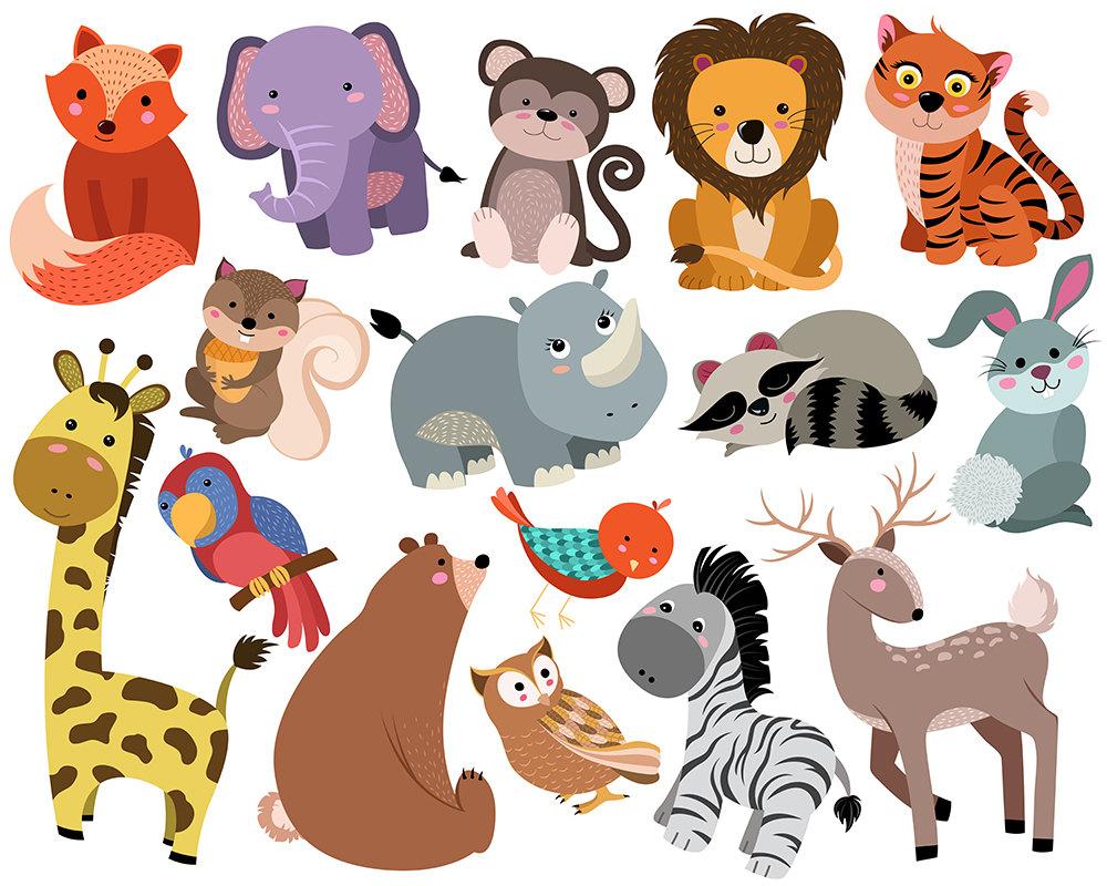 Cute clip art set. Clipart animals