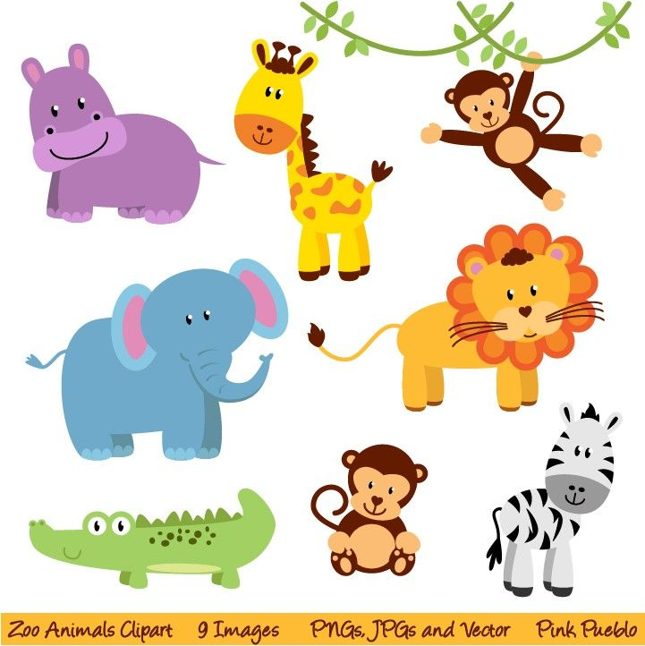 Baby clipart printable. Free jungle animals zoo