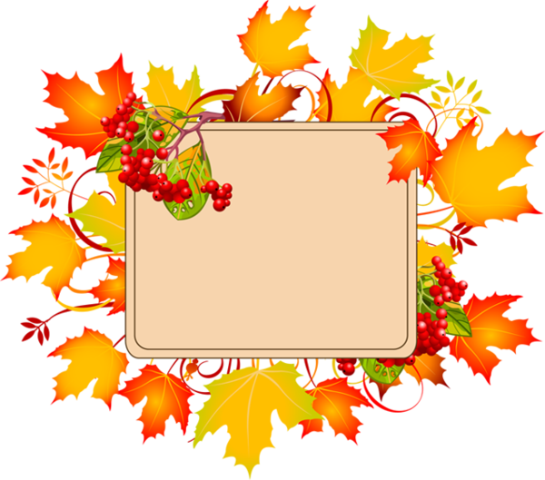Woodland clipart autumn. Cadre frame automne leaves