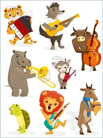 Clipart animals band. Illustration of playing instruments