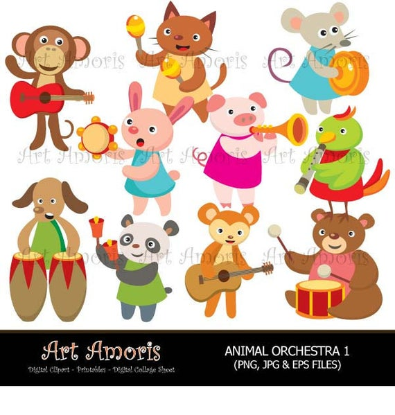 Clipart animals band. Animal orchestra music instrument
