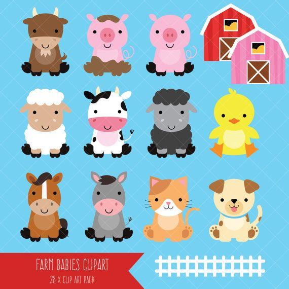 Farm animals cute animal. Farmers clipart baby