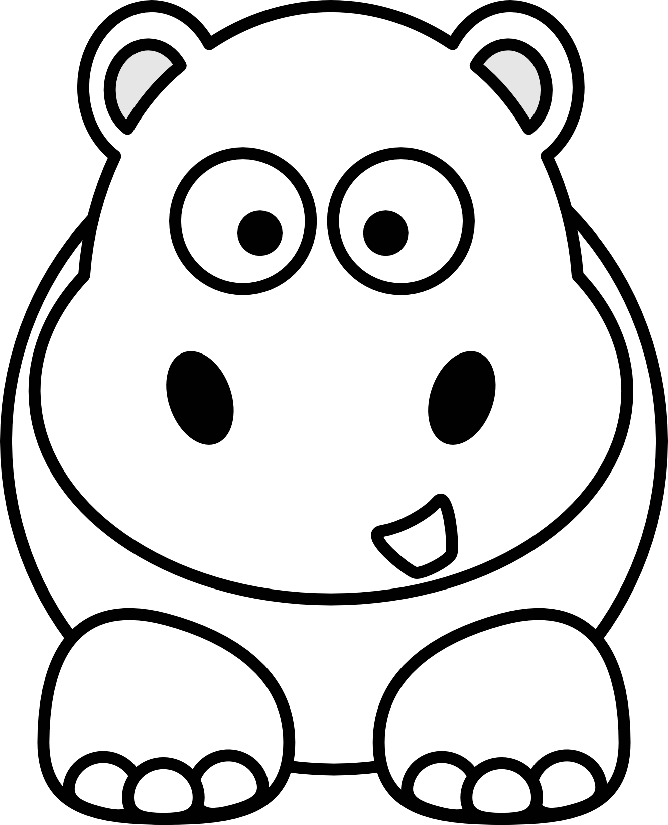 Female clipart hippo. Animal black and white