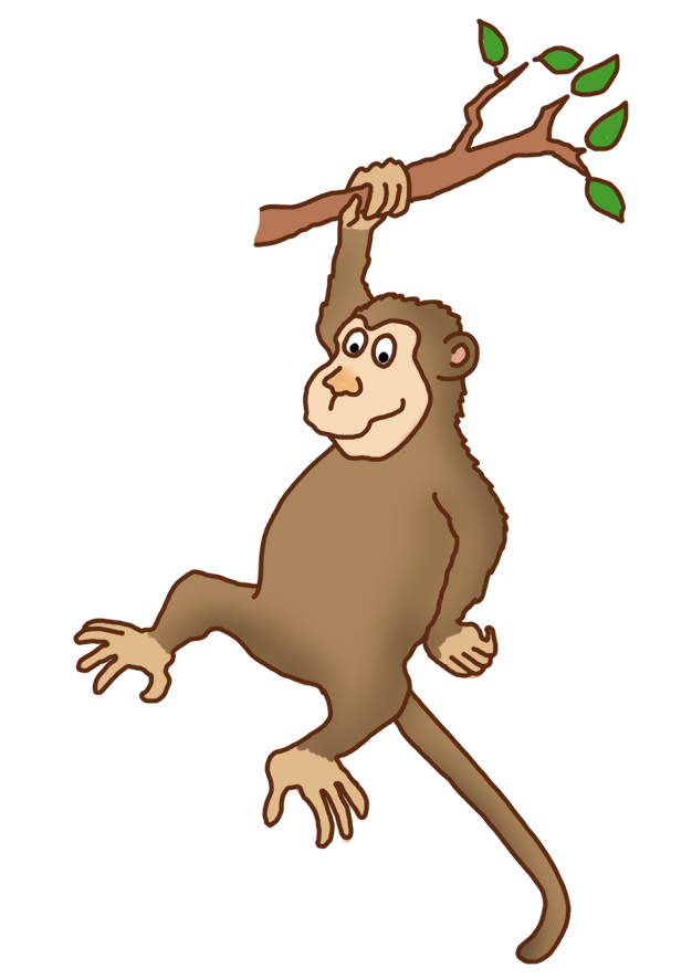 Funny drawings clip art. Tree clipart monkey