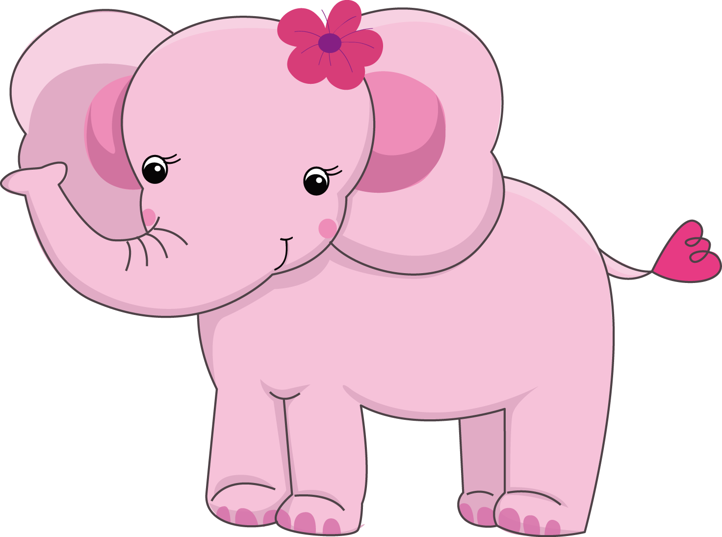 Pretty pink girly jungle. Monkey clipart elephant