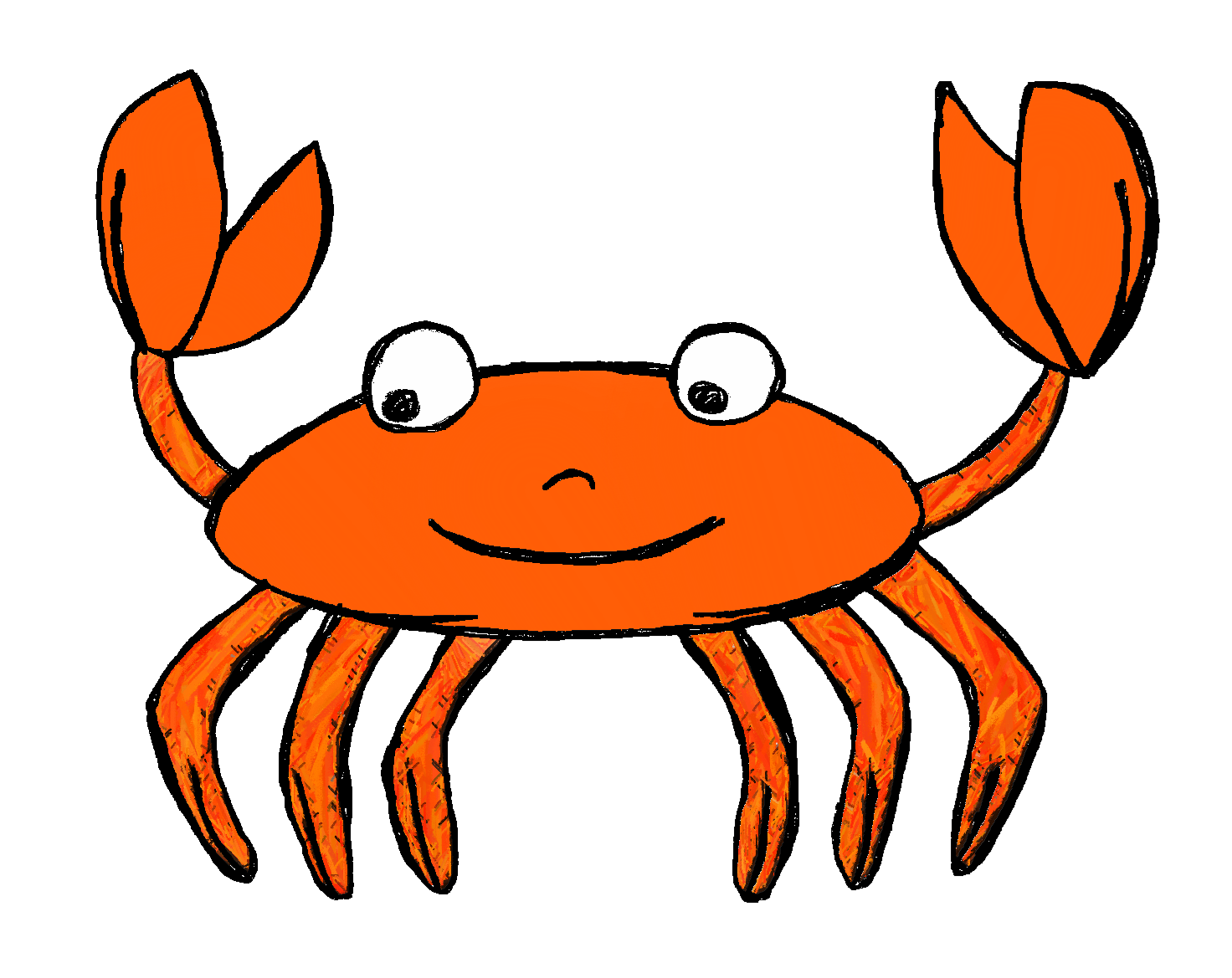 Crab black and white. Clipart ocean critter