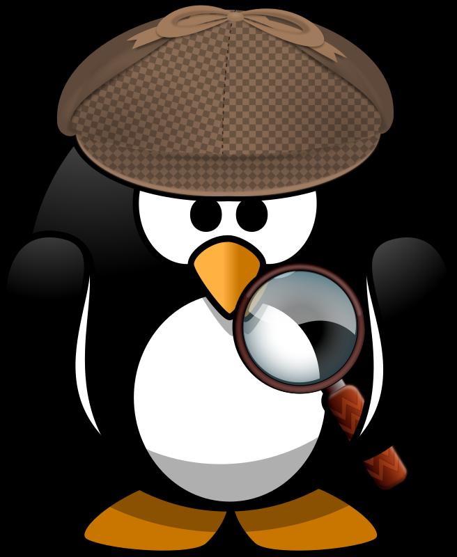Student clipart detective. Sleuth penguin medium image