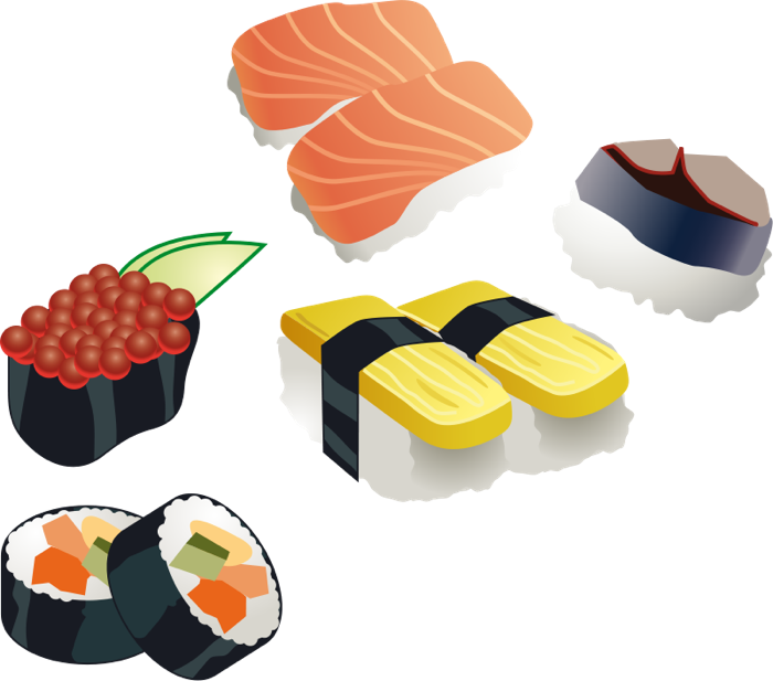 Asian food variety of. Tuna clipart animated