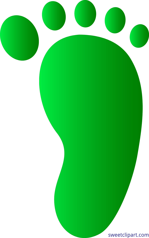 Human foot print green. Footprint clipart travel