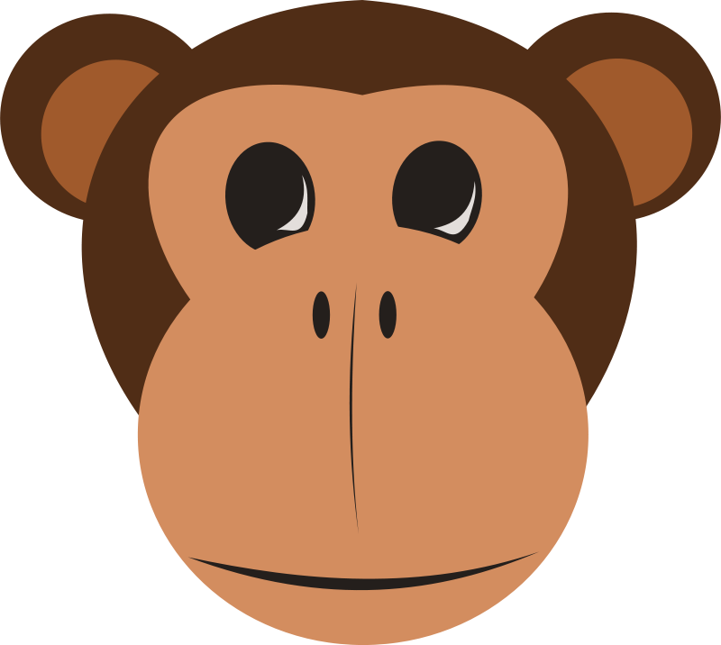 Handprint clipart brown. Free monkey face animals