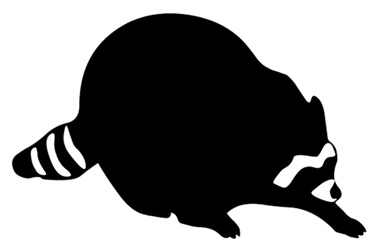Racoon clipart skunk. Cartoon animal silhouette at
