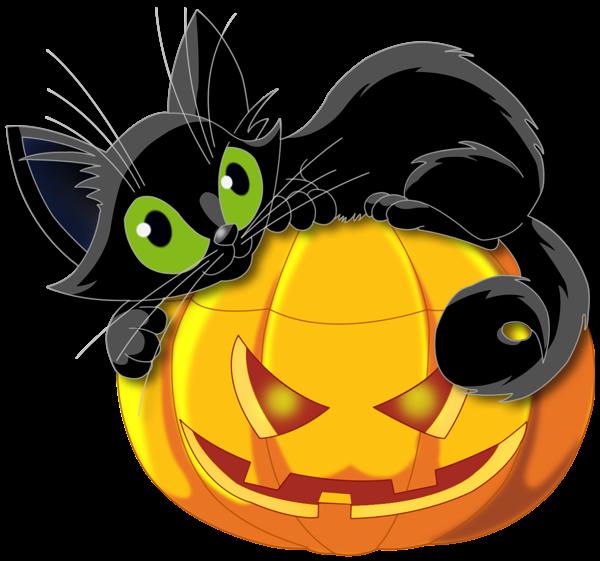 Halloween sorciere chaudron chat. Friendly clipart black cat