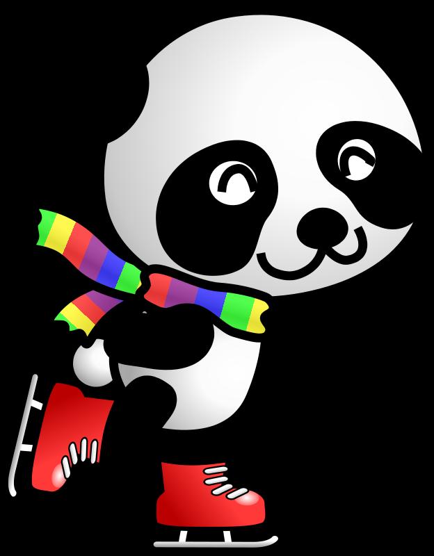 Animal ice skating pencil. Clipart panda panda cub