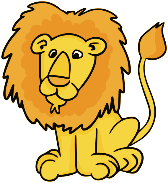 Male animals wild cats. Hand clipart lion