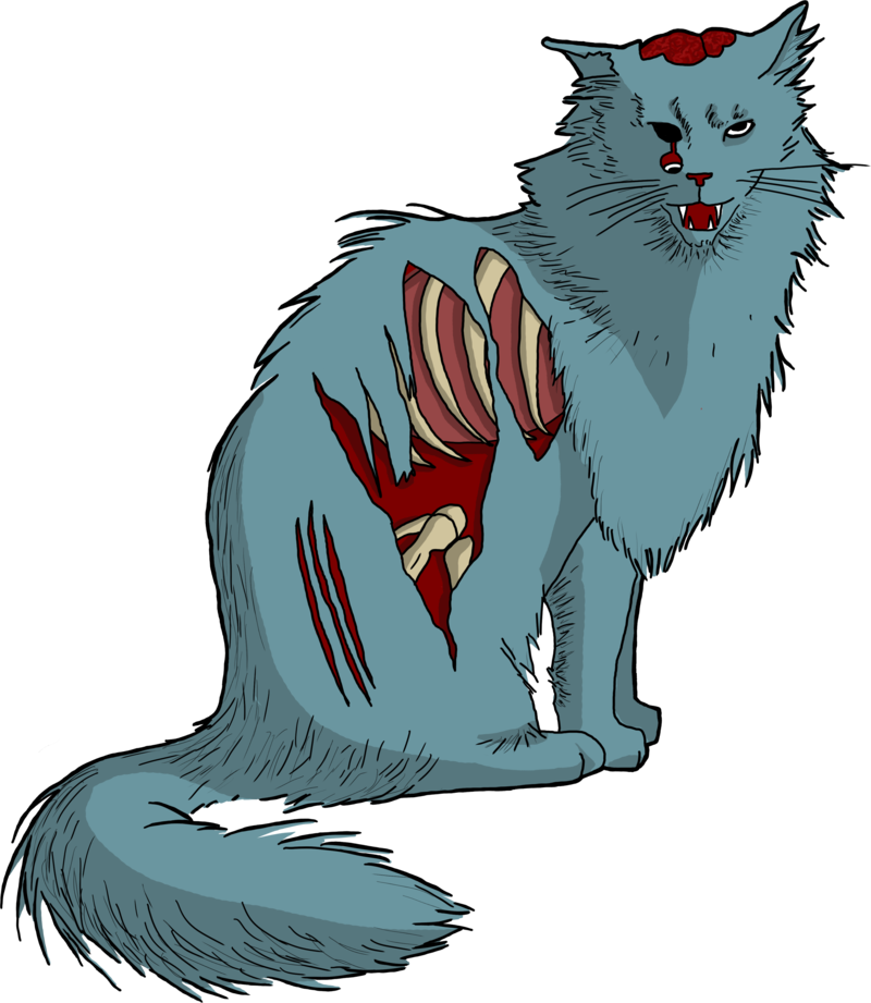 Zombie cat by blanco. Clipart animals lobo