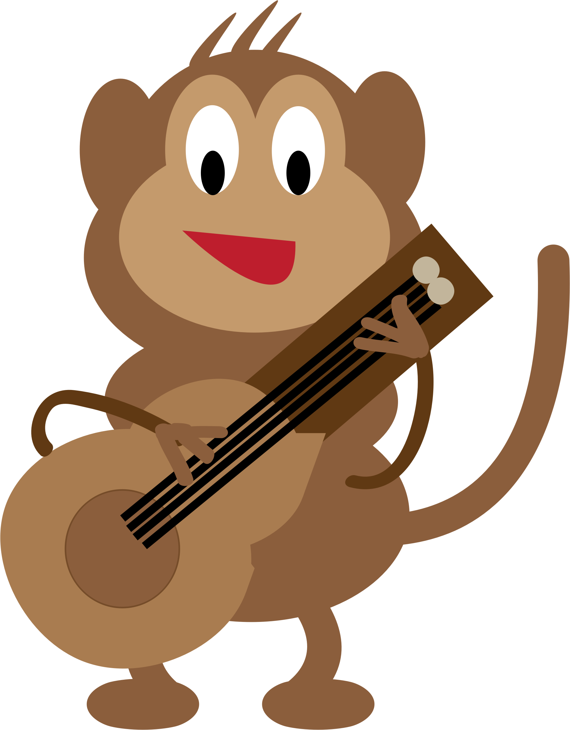 Monkey guitarist big image. Clipart guitar cartoon