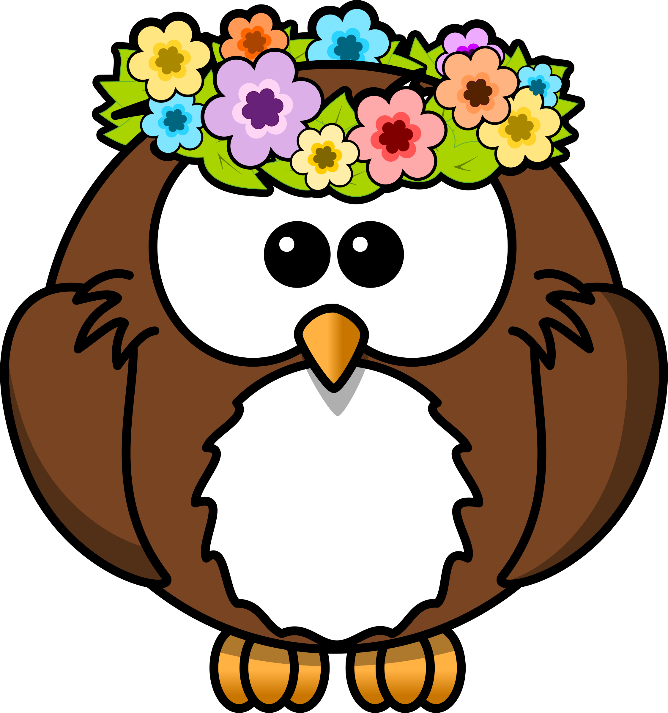 Owl with garland big. Raindrop clipart april shower