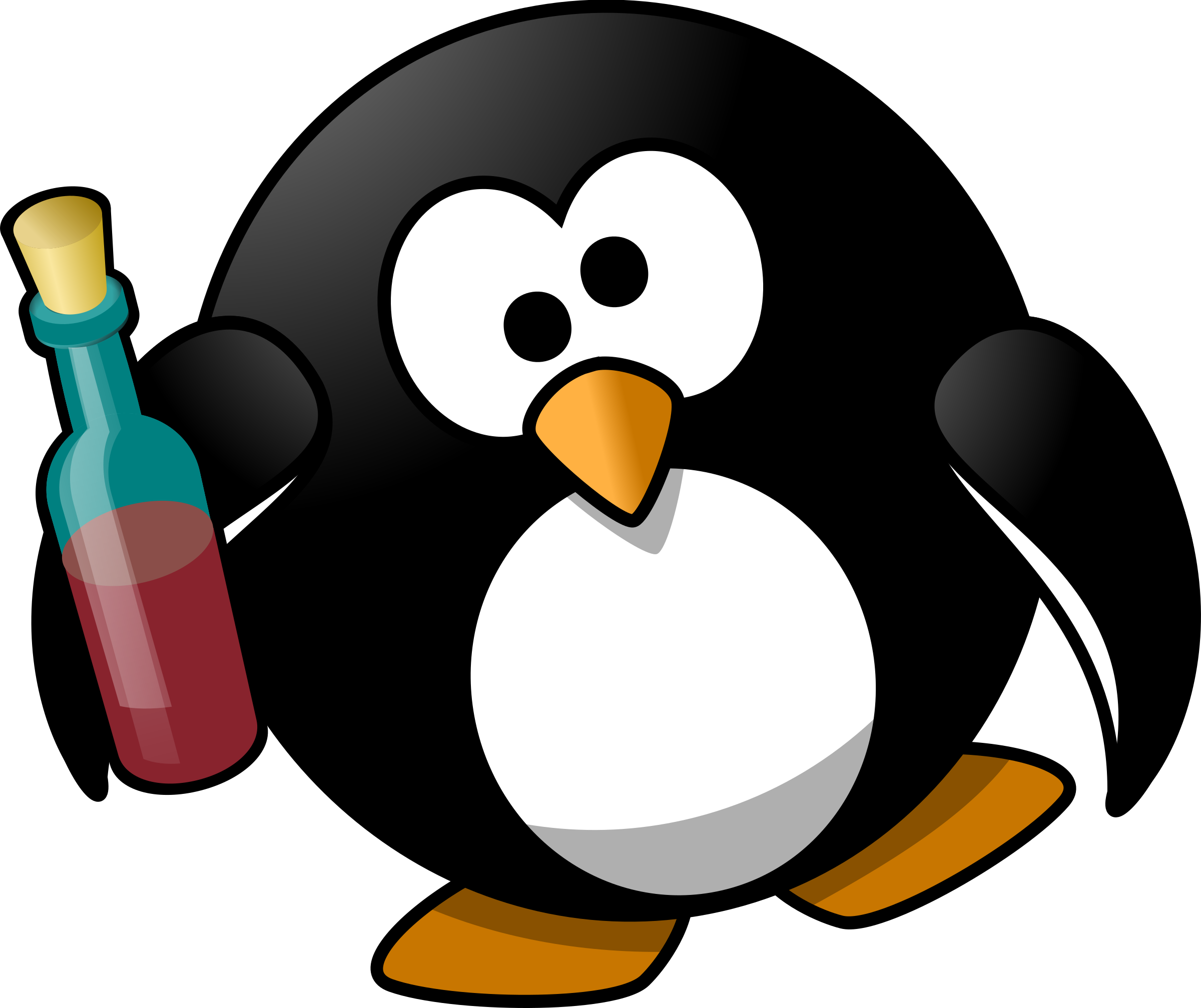Drunk penguin big image. Clipart penquin pengui
