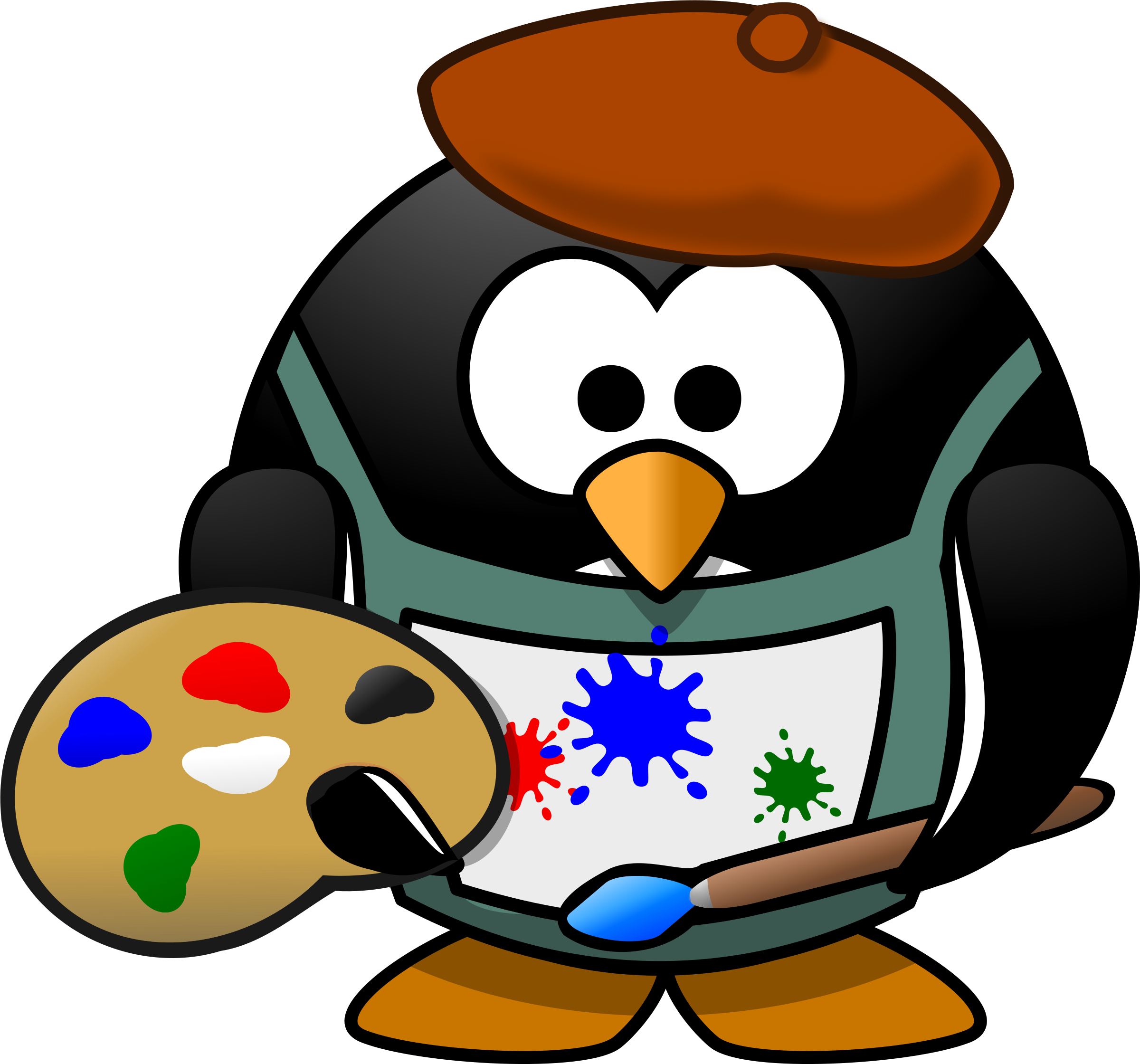 Penguin big image png. Painter clipart animal painting