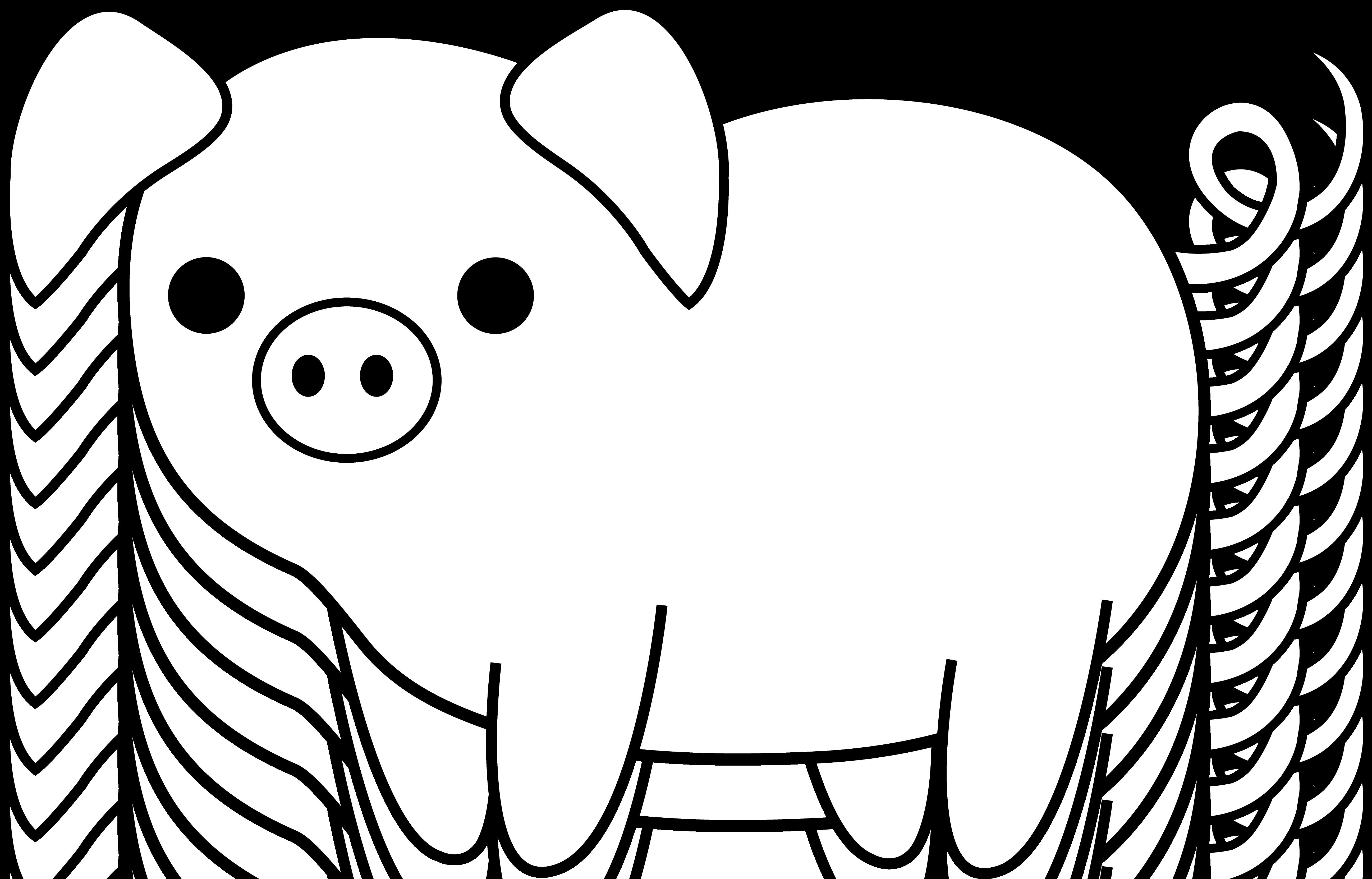 Cute pig clip art. Pet clipart black and white