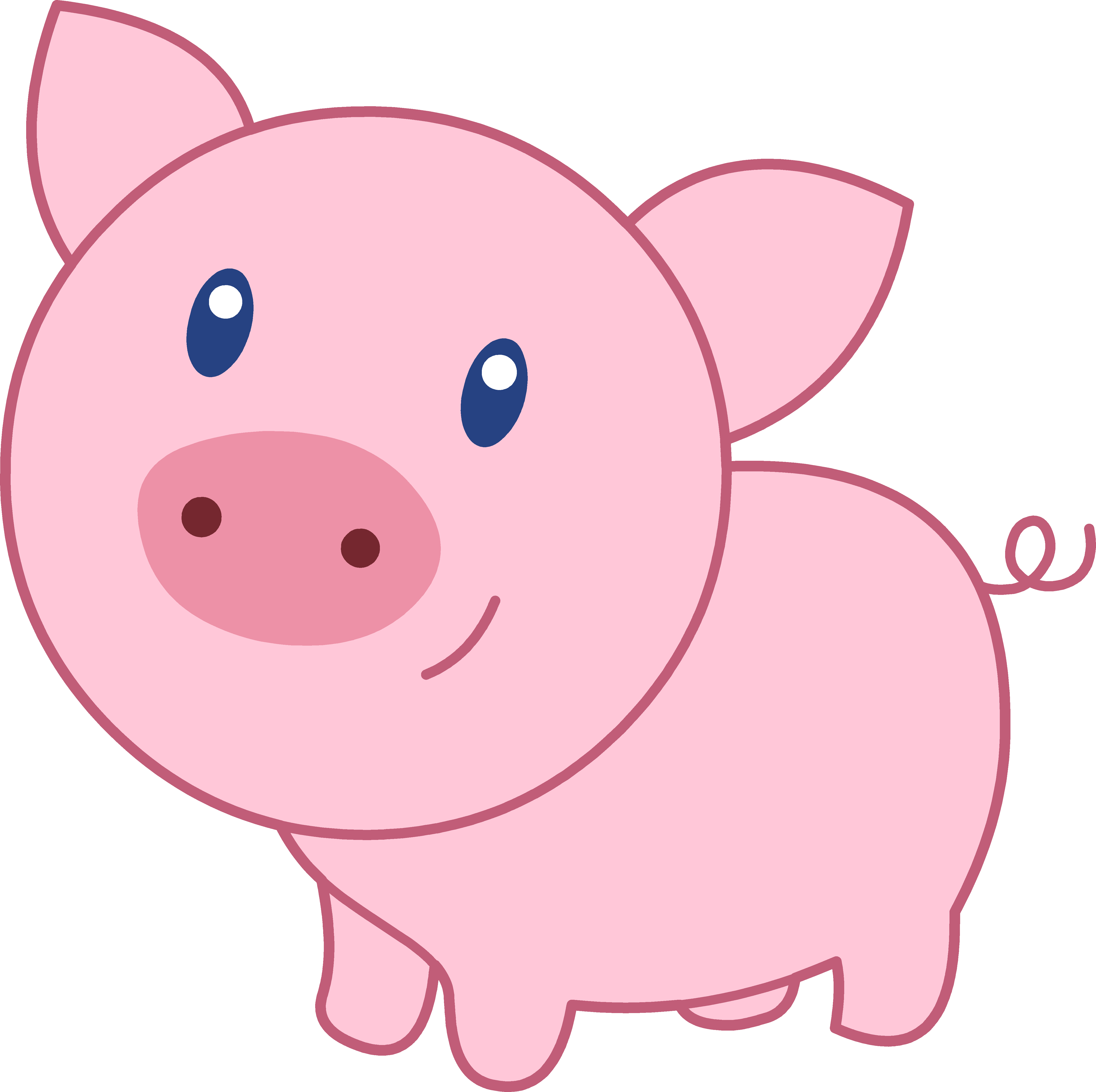 Cute happy pink nothin. Clipart animals pig