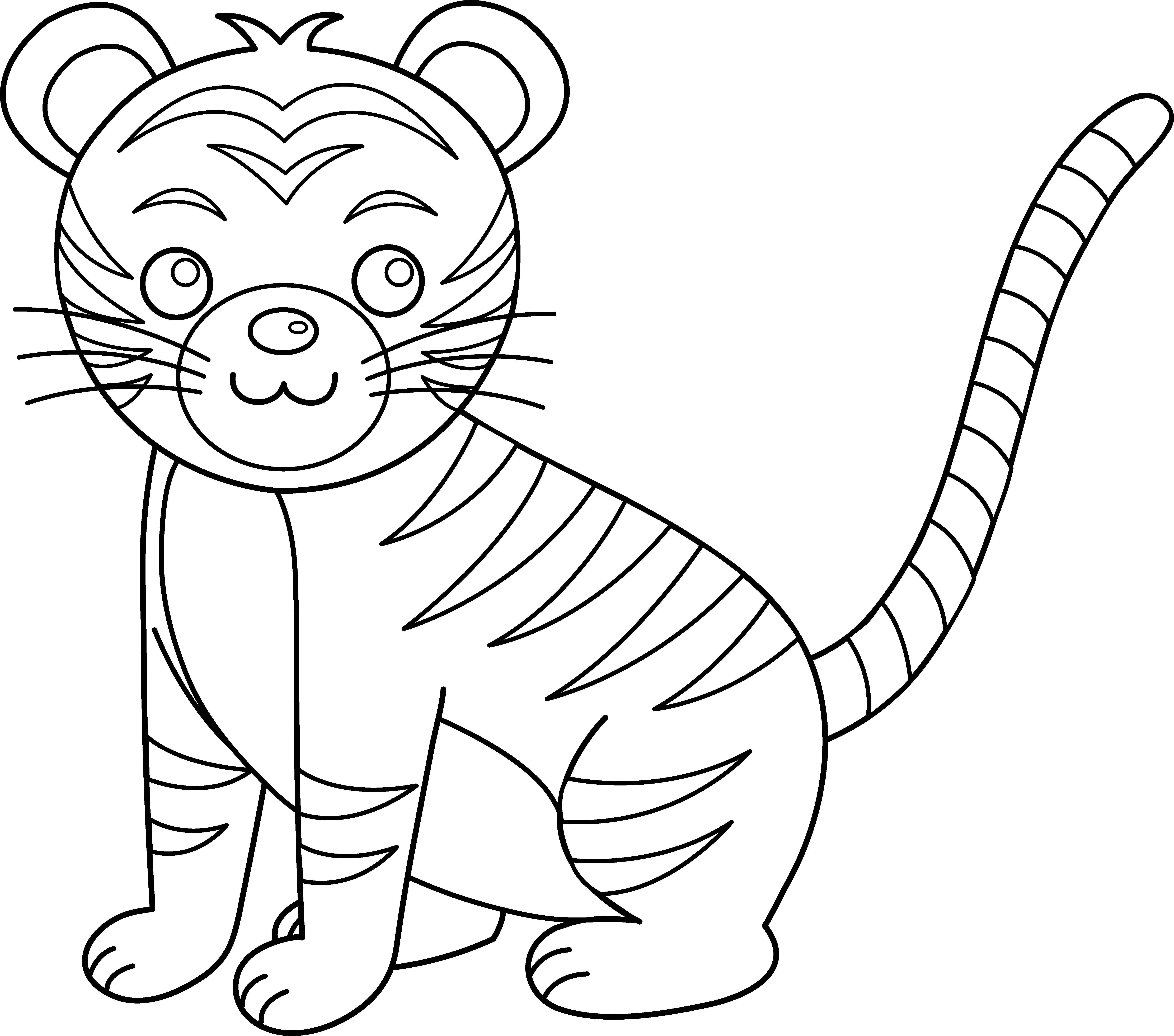 Tiger animals printable coloring. See clipart color page