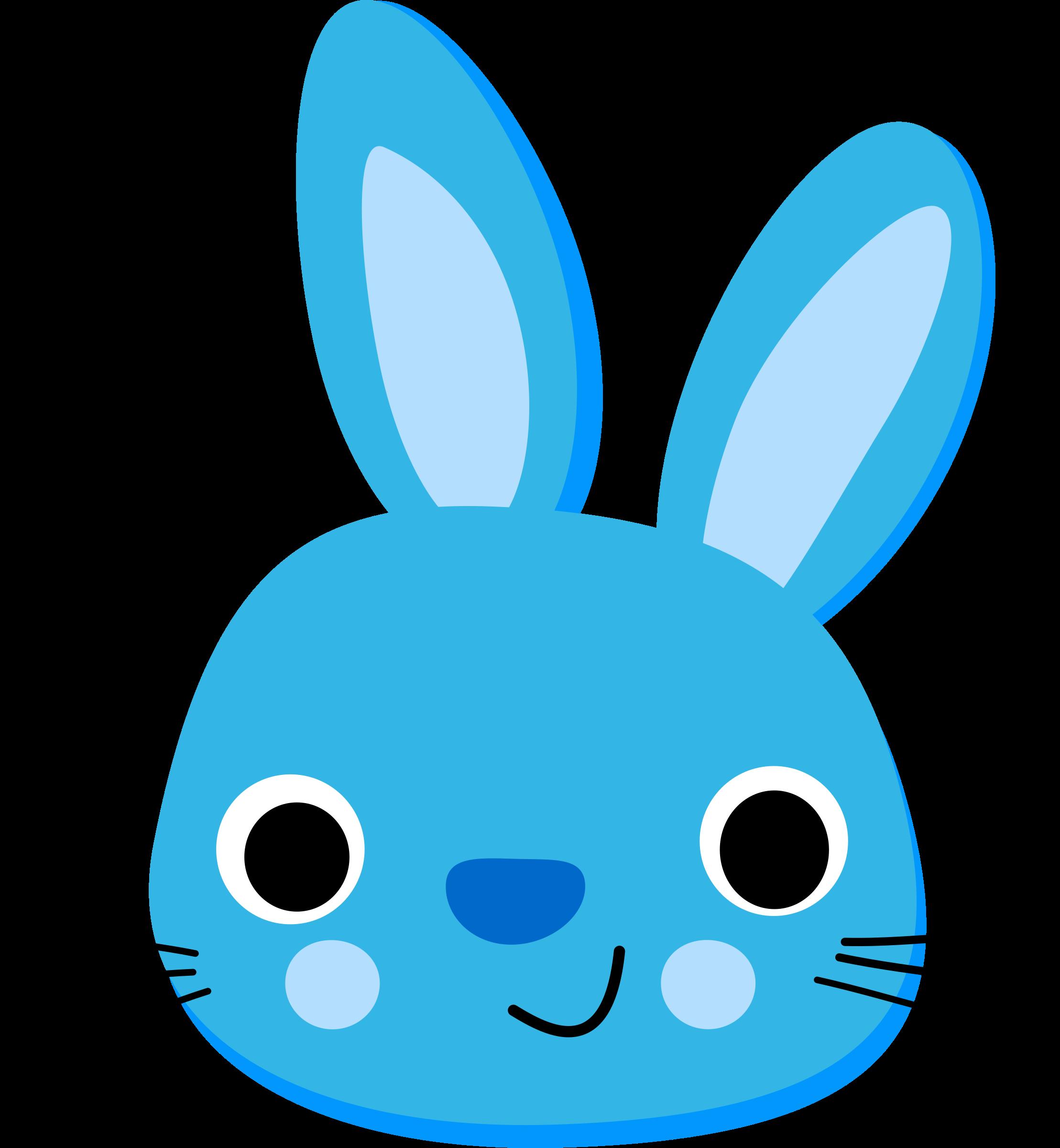 Clipart bunny kawaii. Blue rabbit lapin bleu