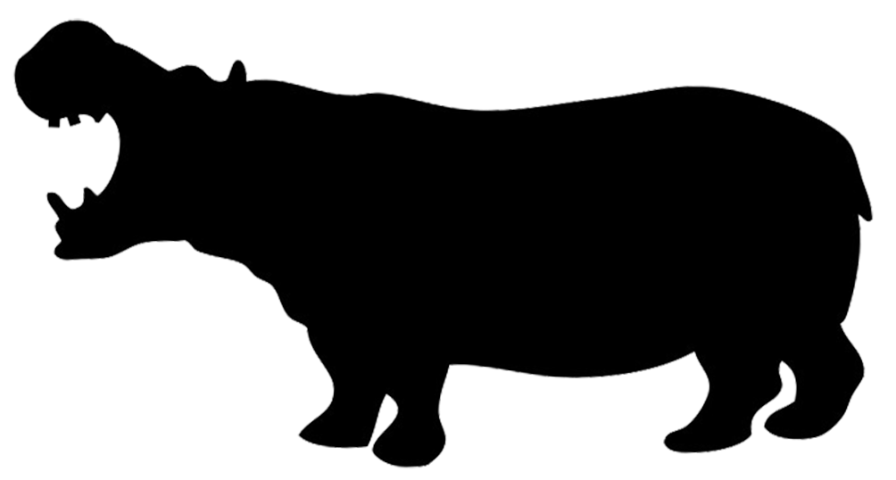 Silhouette of hippo silhouettes. Number 1 clipart animal shape