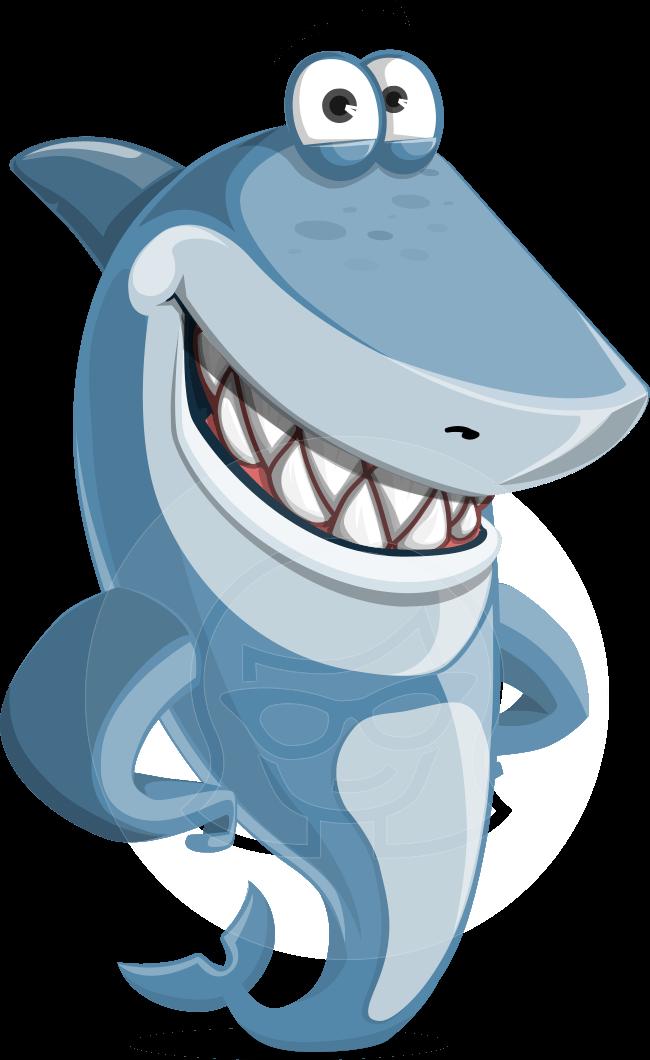 Smiling cartoon illustration vector. Clipart shark mean