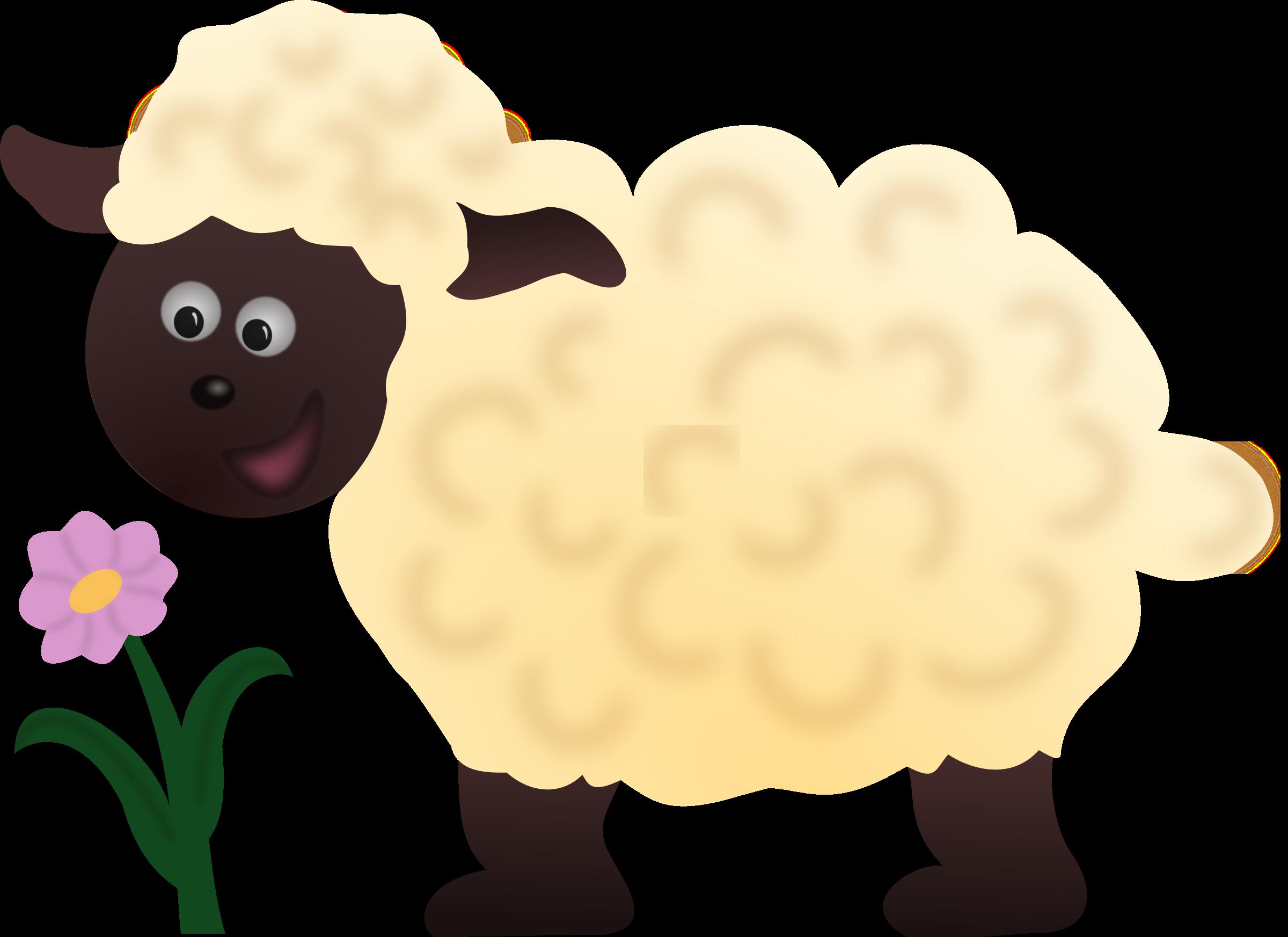 Happy sheep big image. Lamb clipart two