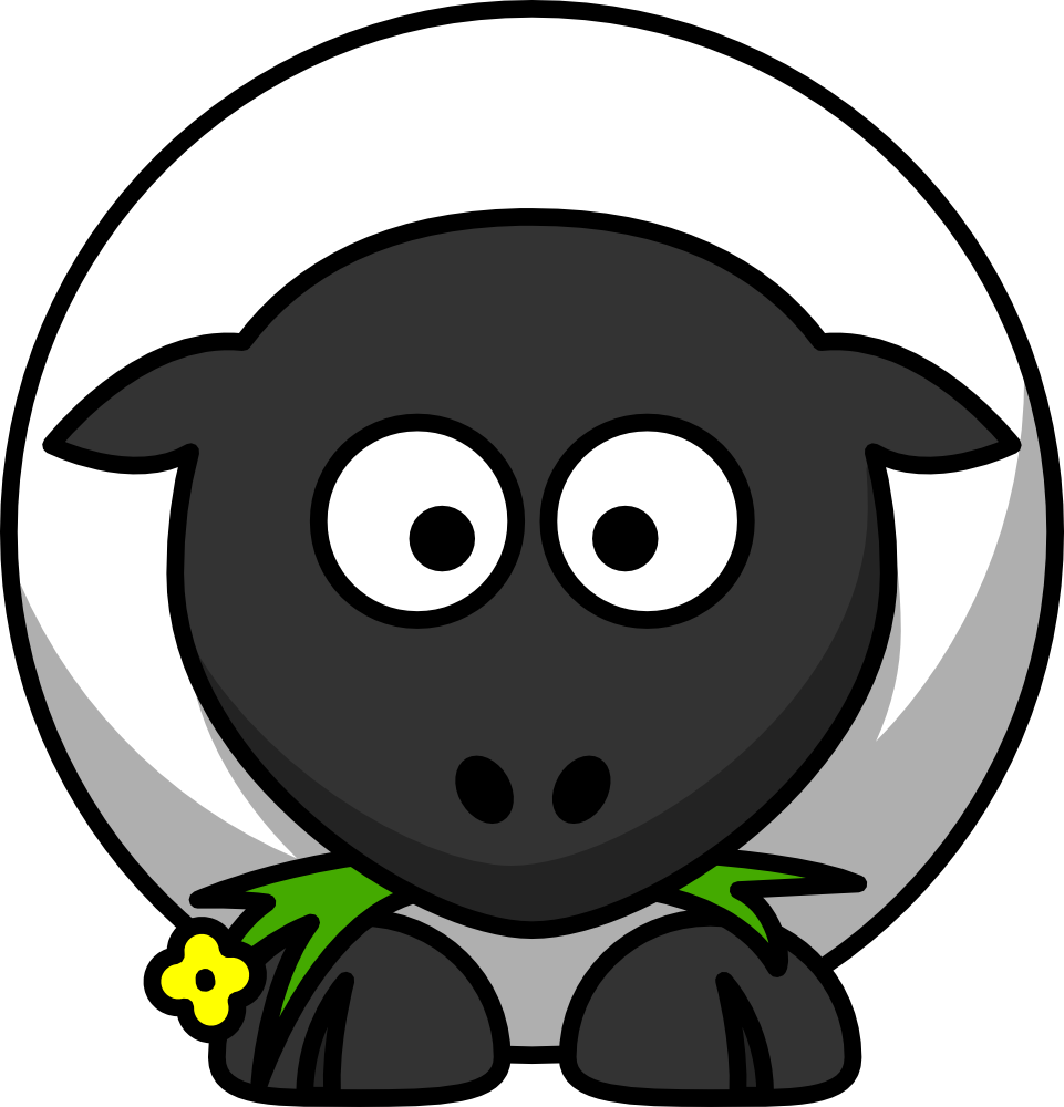 Sheep clipart body. Cute cartoon eating flower