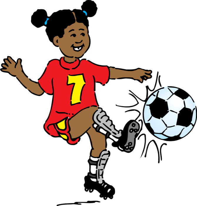 Clipart children football. Free soccer girl playing